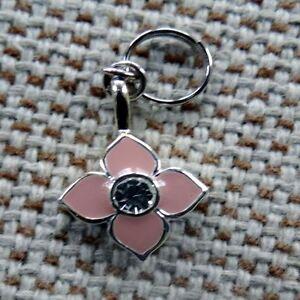Pink Enamel Flower Metallic Base Dog Collar Charm with Rhinestones Bark Avenue