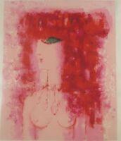 Vintage Original Lithograph Femme Aux Cheveux Rouges by Claudine Berechel Listed