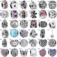 Round Beads Zircon Heart Charms Jewelry Fit Sterling 925 Silver Bracelets Chain