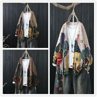 Lady Knitted Cardigan Sweater Coat Top V-neck Floral Ethnic Casual Loose Vintage