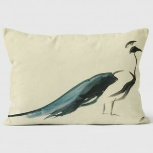 "Mary Evans 'Peacock' Watercolour Cushion - Lemon (18"" x 15"" approx.)"