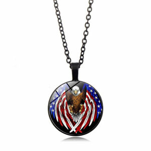Usa Star And Eagle Pattern Photo Glass Cabochon Pendants Necklace Black Chain