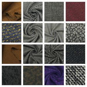 Designer Tweed Wool Mix Melton Fabric Coats Jacket Wool Blend Tartan Herringbone