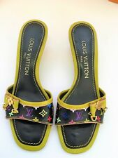 AUTH Louis Vuitton Kitten Sandals/Heeled Slide Sz 5 Leather/Canvas Monogram
