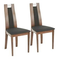 OPEN BOX Aspen Upholstered Dining Chairs in Charcoal Fabric & Walnut (Set of 2)