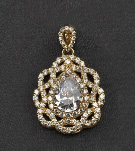 D-Color Pear Cut 4.00Ct Solitaire With Accents Pendant In Real 14KT Yellow Gold