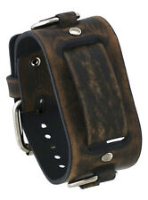 Nemesis FRB-BV Brown 39mm Wide 20mm Lug Width Wide Leather Watch Cuff Band