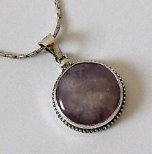 925 STERLING SILVER CHUNKY ROUND PURPLE AMETHYST PENDANT -