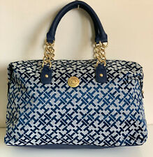 NEW! TOMMY HILFIGER BLUE BOWLER GOLD CHAIN SATCHEL TOTE BAG PURSE $85 SALE
