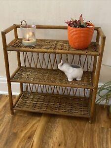 Vintage Retro Boho Bamboo Tiki 3 Tier  Plant Small Wall Hanging Shelve Unit