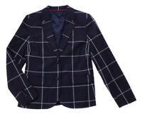 Tommy Hilfiger Women's Navy Blue Plaid Dress Blazer Jacket Ret $139.50 New