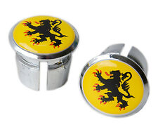 Flanders Flag Bicycle Handlebar Chrome Plastic End Plugs, Bungs, Caps L'Eroica