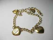"Vintage Children's Necklace - Love Charms, Goldtone - 12"""