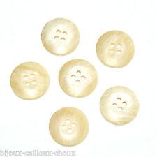 Lot de 6 BOUTONS en plastique beige et blanc Ø 20mm button