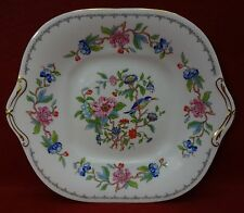 """AYNSLEY china England PEMBROKE GOLD pattrn Square Cake Serving Plate - 10-1/2"""""""
