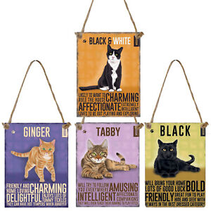 Vintage Style Metal Cat Sign Cute Retro Hanging Plaque Breed Characteristics