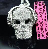 Betsey Johnson SKULL HEADPHONES BEATS Necklace SILVER Music CRYSTAL Gift Box Bag