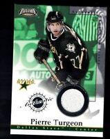 2003 Pacific EXCLUSIVE Game-Worn Jersey Pierre Turgeon Dallas Stars #6 Card