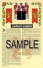 RADFORD Armorial Name History - Coat of Arms - Family Crest GIFT! 11x17
