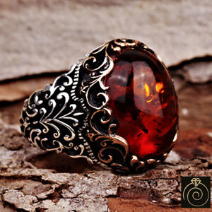 Amber Mens Engagement Ring Fire Stone Vintage Silver Engrave Protection Jewelry