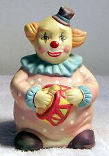 Vintage Ceramic Clown Playing Drum Figurine