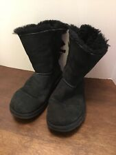 UGG Bailey Bow Black Size 6 Sheepskin Shearling Lined Boots F10012H S/N 1002954