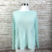 Eileen Fisher Sweater Womens Small P Linen Teal Open Knit Long Sleeve Pullover