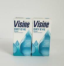 Visine Dry Eye Relief Natural Tears Lubricant Eye Drops 1/2 FL oz Lot of 2