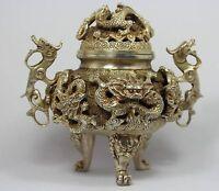 collection , Chinoise ancienne argent Tibet sculpté dragon forme encensoir