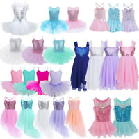 2-12 Aged Ballerina Sequin Costume Girl Kid Ballet Dance Dress Leotard Dancewear