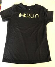 Under Armour Youth black  loose fit heat gear T shirt size Youth Small