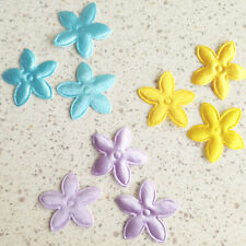 200 Mixed Satin Daisy Flower Padded  Appliques Trim Hair Bow Craft Scrapbook