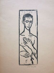 Young male nude woodcut portrait print ca.1955 Vito Tomasello NYC artist