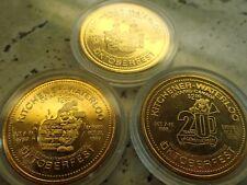 Set Of 3 1980's Oktoberfest 2 Dollars Kitchener-Waterloo Gold Toned Coins
