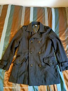 Men's Lee Black Wool/Poly Trenchcoat Med Length Size Small