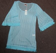 NWT MUD PIE WOMEN'S MARILEE FRINGED COVER UP BLUE SZ SMALL