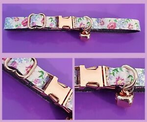 Pretty Floral Pink Purple Gold Bell Cat Collar Teacup Puppy XXXS XXS XS S L
