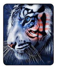 USA Patriotic White Tigers Luxury Raschel Plush Mink Blanket Queen Size 79 X 94
