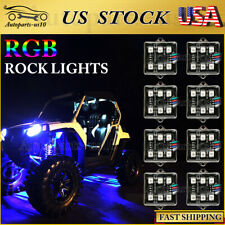8 pods RGB LED Rock Light Kit Offroad Truck Bed Under Body Lights W/ Remote 12V