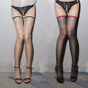 Women's Glossy Ultra-thin Shiny Sheer Transparent Thigh High Stockings Hold Ups