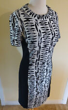 NEW GERMANY MARCCAIN WOOL BLEND KNIT CLASSY BLACK ANIMAL PRINT DRESS N3/38 US/6