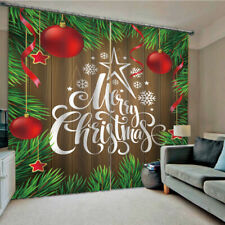 Christmas Bedroom Window Drapes Balcony Window Curtains Home Decor 2 Panel