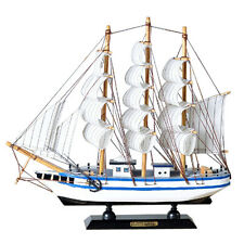 "13"" Wooden Sailboat Model Ship Model 100% Handmade Wood Sailing Boat White Blue"