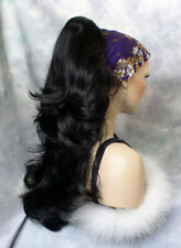 Long Wavy Black Clip-On Hair Piece Ponytail Extension