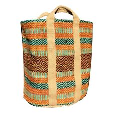 X LARGE JUTE Basket Storage/Laundry/Toy Wood Basket Orange and Blue