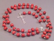 Rosary Necklace 8mm Wood Bead Silver Detail Crucifix Chain Center RED Low Stock!