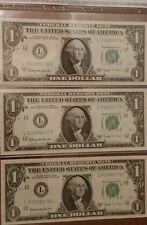 Lot of 3 Consecutive 1963B US One Dollar Notes Joseph Barr Series - Unc.