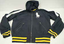 POLO RALPH LAUREN Boys Navy Blue Hooded Branded Casual Bomber Jacket Sz:M 10-12