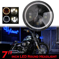 "7"" Angel Eye Halo LED Feux Phare Avant DRL Hi-Lo Lampe Pour JEEP Wrangler Harley"