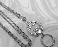 Claddagh Lanyard, Irish Silver Chain Lanyard, ID Badge Holder, Breakaway Option